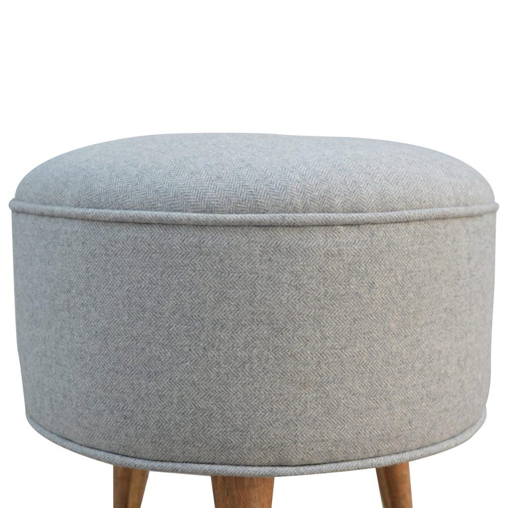 Round Nordic Styled Footstool in Grey Tweed