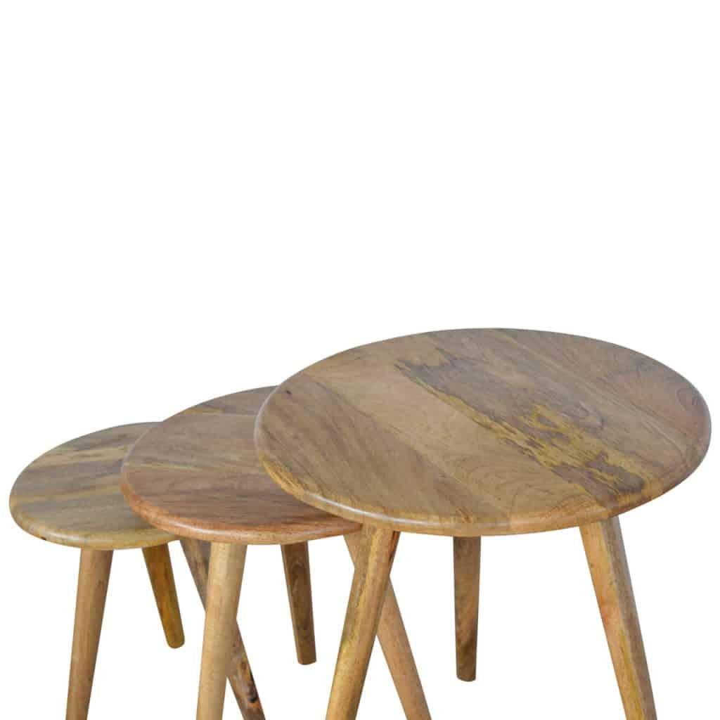 Scandinavian Style Nesting Stool Table Set of 3
