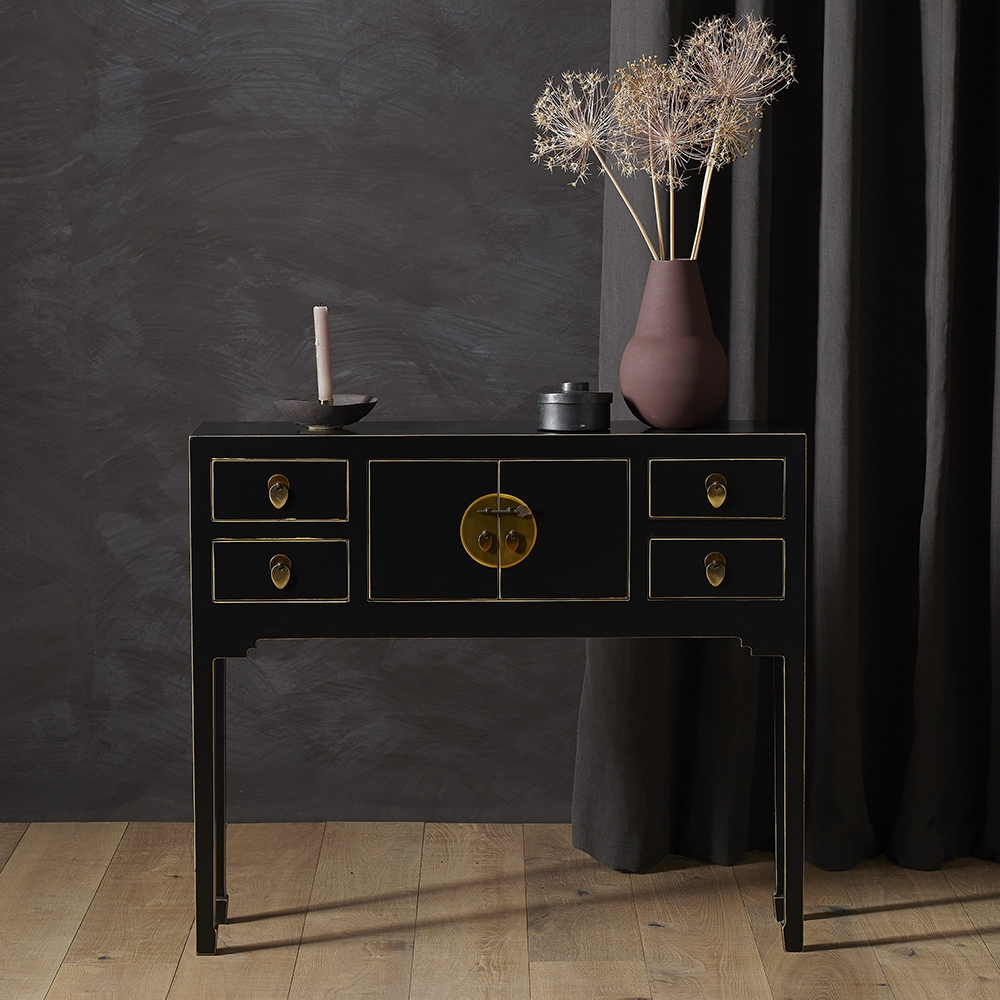 Nines Qing Black and Gilt Small Console Table
