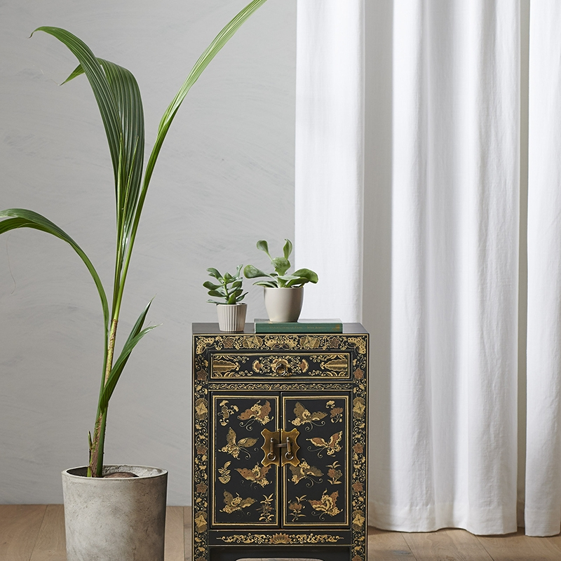 Nines Oriental Decorated Black Small Cabinet