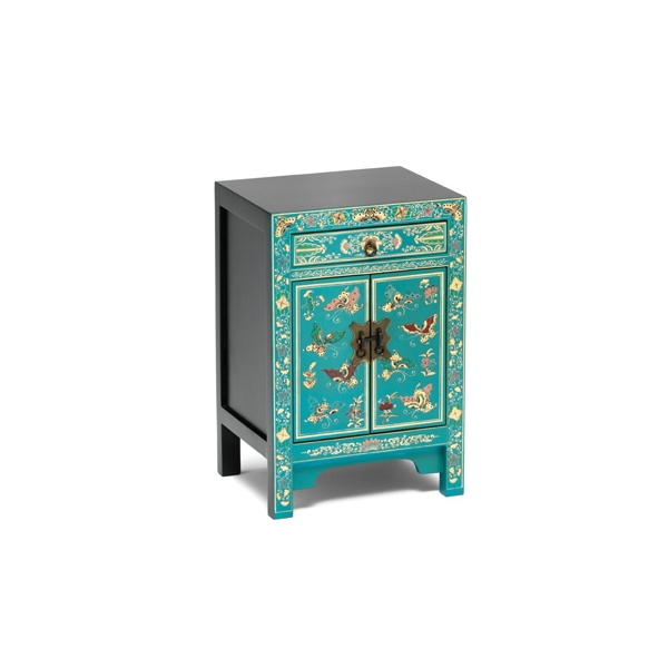 Nines Oriental Decorated Blue Small Cabinet